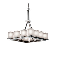 Justice Design Veneto Luce Montana 12-Light Ring Chandelier (Tall) in Brushed Nickel GLA-8663-26-WTFR-NCKL