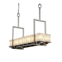 Justice Design Veneto Luce Montana 14-Light Bridge Chandelier (Tall) in Brushed Nickel GLA-8664-26-WHTW-NCKL