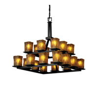 Justice Design Veneto Luce Montana 20-Light 2-Tier Ring Chandelier in Matte Black GLA-8667-26-AMBR-MBLK
