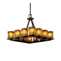 Justice Design Veneto Luce Montana 12-Light Ring Chandelier (Short) in Dark Bronze GLA-8668-26-AMBR-DBRZ