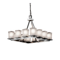 Justice Design Veneto Luce Montana 12-Light Ring Chandelier (Short) in Brushed Nickel GLA-8668-26-WTFR-NCKL