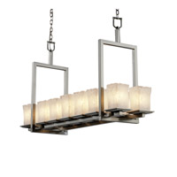 Justice Design Veneto Luce Montana 14-Light Bridge Chandelier (Short) in Brushed Nickel GLA-8669-26-WHTW-NCKL