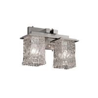Justice Design Veneto Luce Montana 2-Light Bath Bar in Brushed Nickel GLA-8672-26-CLRT-NCKL