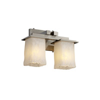 Justice Design Veneto Luce Montana 2-Light Bath Bar in Brushed Nickel GLA-8672-26-WHTW-NCKL