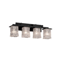 Veneto Luce 4 Light 29 inch Matte Black Bath Bar Wall Light in Clear Textured (Veneto Luce)