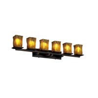 Justice Design GLA-8686-26-AMBR-DBRZ Veneto Luce 6 Light 45 inch Dark Bronze Bath Bar Wall Light in Amber (Veneto Luce), Incandescent