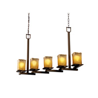 Justice Design Veneto Luce Montana 5-Light Zig-Zag Chandelier in Dark Bronze GLA-8687-26-GLDC-DBRZ