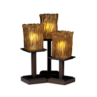 Justice Design Veneto Luce Montana 3-Light Table Lamp in Dark Bronze GLA-8697-26-AMBR-DBRZ