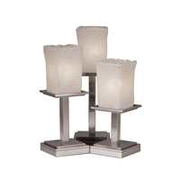 Justice Design Veneto Luce Montana 3-Light Table Lamp in Brushed Nickel GLA-8697-26-WHTW-NCKL