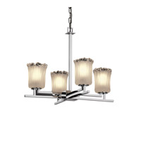 Veneto Luce 4 Light Polished Chrome Chandelier Ceiling Light in White Frosted (Veneto Luce), Cylinder with Rippled Rim