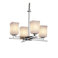 Veneto Luce 4 Light Polished Chrome Chandelier Ceiling Light in Whitewash (Veneto Luce), Square with Rippled Rim