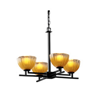 Justice Design GLA-8700-36-GLDC-MBLK Veneto Luce 4 Light 23 inch Matte Black Chandelier Ceiling Light in Gold with Clear Rim (Veneto Luce), Bowl with Rippled Rim photo thumbnail