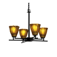 Justice Design Veneto Luce Aero 4-Light Chandelier in Matte Black GLA-8700-56-AMBR-MBLK photo thumbnail