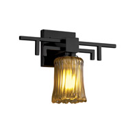 Justice Design Veneto Luce Aero 1-Light Wall Sconce in Matte Black GLA-8701-16-AMBR-MBLK