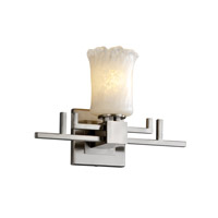 Justice Design GLA-8701-16-WHTW-NCKL Veneto Luce 1 Light 14 inch Brushed Nickel Wall Sconce Wall Light in Whitewash (Veneto Luce), Cylinder with Rippled Rim