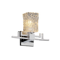 Veneto Luce 1 Light 14 inch Polished Chrome Wall Sconce Wall Light in Clear Textured (Veneto Luce), Square with Rippled Rim