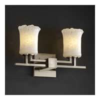 Justice Design Veneto Luce Aero 2-Light Bath Bar in Brushed Nickel GLA-8702-16-WHTW-NCKL
