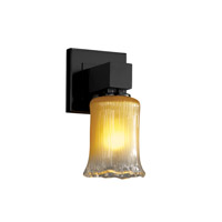 Veneto Luce 1 Light 5 inch Matte Black Wall Sconce Wall Light in Gold with Clear Rim (Veneto Luce), Cylinder with Rippled Rim