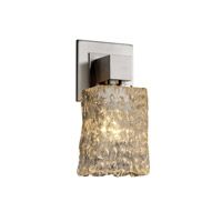 Justice Design GLA-8705-26-CLRT-CROM Veneto Luce 1 Light 5 inch Polished Chrome Wall Sconce Wall Light in Clear Textured (Veneto Luce), Square with Rippled Rim photo thumbnail