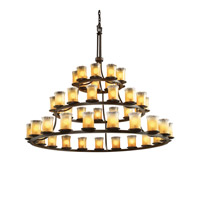 Justice Design Veneto Luce Dakota 45-Light 3-Tier Ring Chandelier in Dark Bronze GLA-8714-16-GLDC-DBRZ