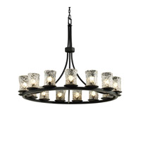 Justice Design Veneto Luce Dakota 15-Light 1-Tier Ring Chandelier in Matte Black GLA-8715-16-CLRT-MBLK