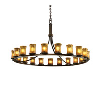 Justice Design Veneto Luce Dakota 21-Light 1-Tier Ring Chandelier in Dark Bronze GLA-8716-16-AMBR-DBRZ