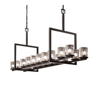 Justice Design Veneto Luce Dakota 20-Light Bridge Chandelier in Matte Black GLA-8717-16-CLRT-MBLK