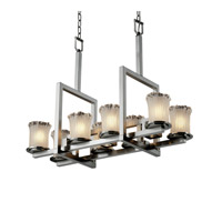 Justice Design Veneto Luce Dakota 8-Up & 3-Downlight Bridge Chandelier in Brushed Nickel GLA-8718-16-WTFR-NCKL