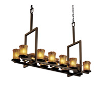 Justice Design Veneto Luce Dakota 12-Up & 5-Downlight Bridge Chandelier (Tall) in Dark Bronze GLA-8719-16-AMBR-DBRZ