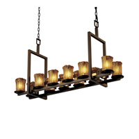 Justice Design Veneto Luce Dakota 12-Up & 5-Downlight Bridge Chandelier (Short) in Dark Bronze GLA-8720-16-AMBR-DBRZ