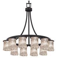 Justice Design GLA-8739-16-CLRT-MBLK-PL12-GU24-13W Veneto Luce 28 inch Matte Black Chandelier Ceiling Light photo thumbnail