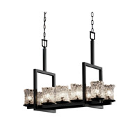 Justice Design Veneto Luce Dakota 10-Light Bridge Chandelier in Matte Black GLA-8757-16-CLRT-MBLK