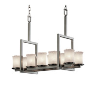 Justice Design Veneto Luce Dakota 10-Light Bridge Chandelier in Brushed Nickel GLA-8757-16-WHTW-NCKL