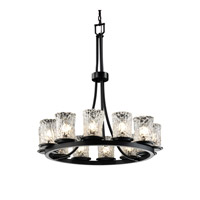 Justice Design Veneto Luce Dakota 12-Light Ring Chandelier (Tall) in Matte Black GLA-8763-16-CLRT-MBLK