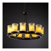 Justice Design GLA-8763-16-GLDC-DBRZ Veneto Luce 12 Light Dark Bronze Chandelier Ceiling Light in Gold with Clear Rim (Veneto Luce) photo thumbnail