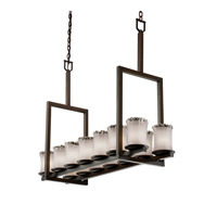 Justice Design Veneto Luce Dakota 14-Light Bridge Chandelier (Tall) in Dark Bronze GLA-8764-16-WTFR-DBRZ