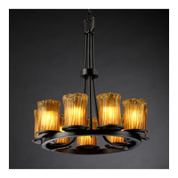 Justice Design Veneto Luce Dakota 9-Light Ring Chandelier in Matte Black GLA-8766-16-AMBR-MBLK
