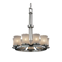 Justice Design Veneto Luce Dakota 9-Light Ring Chandelier in Brushed Nickel GLA-8766-16-WHTW-NCKL