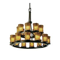 Justice Design Veneto Luce Dakota 21-Light 2-Tier Ring Chandelier in Dark Bronze GLA-8767-16-AMBR-DBRZ