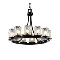 Justice Design Veneto Luce Dakota 12-Light Ring Chandelier (Short) in Matte Black GLA-8768-16-CLRT-MBLK