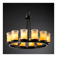 Justice Design Veneto Luce Dakota 12-Light Ring Chandelier (Short) in Matte Black GLA-8768-16-GLDC-MBLK