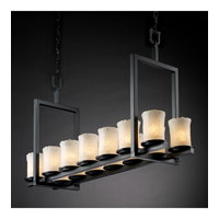 Justice Design Veneto Luce Dakota 14-Light Bridge Chandelier (Short) in Matte Black GLA-8769-16-WHTW-MBLK