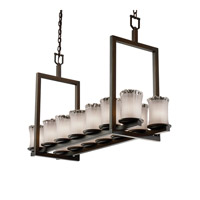 Justice Design Veneto Luce Dakota 14-Light Bridge Chandelier (Short) in Dark Bronze GLA-8769-16-WTFR-DBRZ