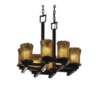 Justice Design Veneto Luce Dakota 8-Light Zig-Zag Chandelier in Dark Bronze GLA-8770-16-AMBR-DBRZ
