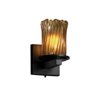 Justice Design Veneto Luce Dakota 1-Light Wall Sconce in Matte Black GLA-8771-16-AMBR-MBLK