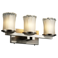 Justice Design Veneto Luce Dakota 3-Light Straight-Bar Bath Bar in Brushed Nickel GLA-8773-16-WTFR-NCKL photo thumbnail