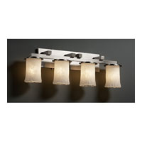Justice Design Veneto Luce Dakota 4-Light Straight-Bar Bath Bar in Brushed Nickel GLA-8774-16-WHTW-NCKL