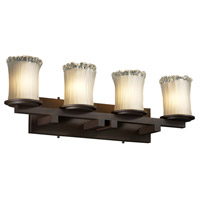 Justice Design Veneto Luce Dakota 4-Light Straight-Bar Bath Bar in Dark Bronze GLA-8774-16-WTFR-DBRZ