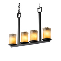 Justice Design Veneto Luce Dakota 4-Light Bar Chandelier in Matte Black GLA-8778-16-GLDC-MBLK