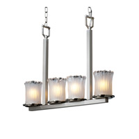 Justice Design Veneto Luce Dakota 4-Light Bar Chandelier in Brushed Nickel GLA-8778-16-WTFR-NCKL